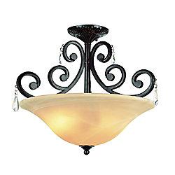Bel Air Lighting Luminaire semi-affleurant à volutes entrelacées, noir fini bronze