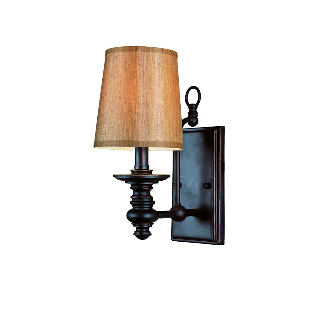 Bel Air Lighting Oiled Bronze Linen Shade Wall Sconce