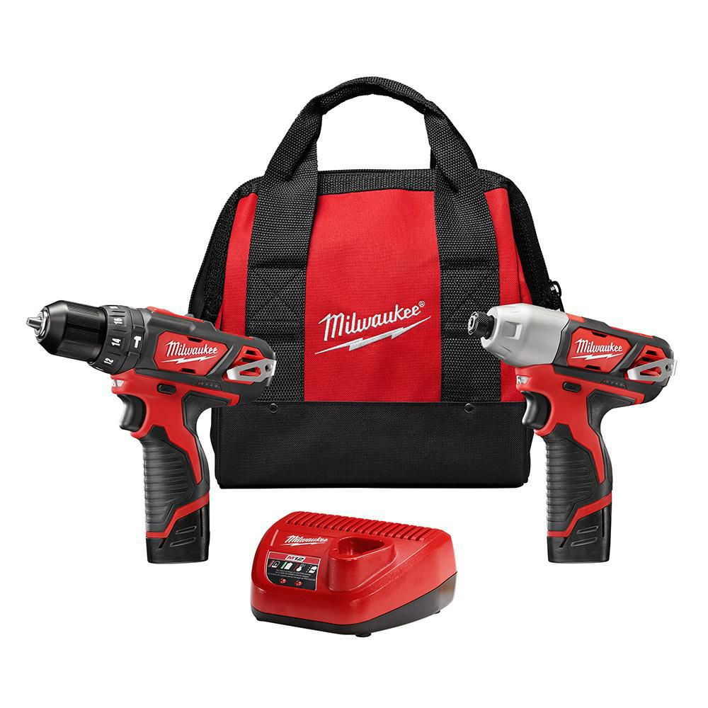Milwaukee Tool M12 12V Lithium-Ion Cordless Hammer Drill/Impact Driver Combo Kit (2-Tool) W/ (2) 1.5Ah Batteries