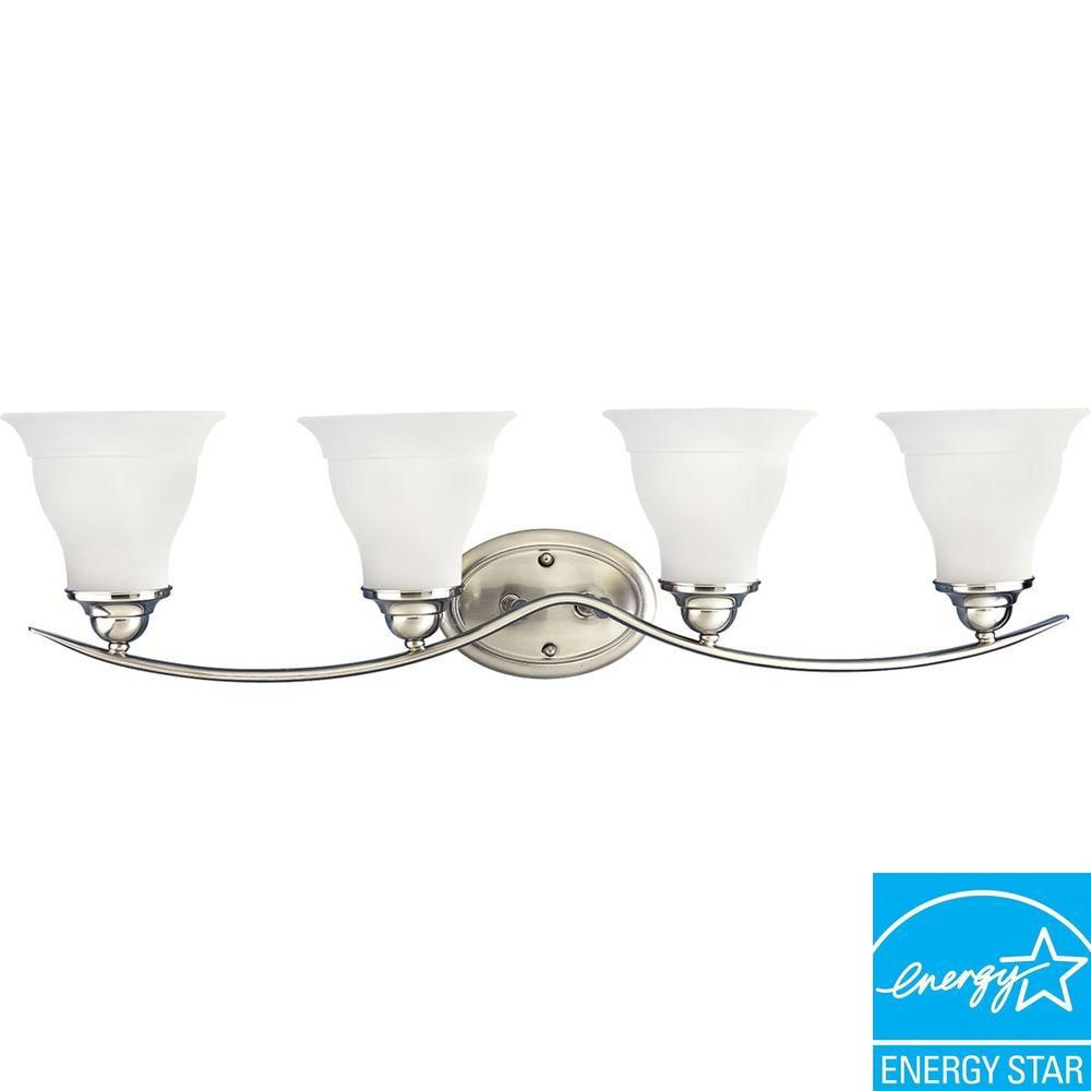 Trinity Collection Brushed Nickel 4-light Fluorescent Vanity Fixture