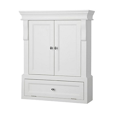Home Decorators Collection Naples 26 1 2 Inch W X 32 3 4 H 8 D Bathroom Storage Wall Cabinet In White The Depot Canada