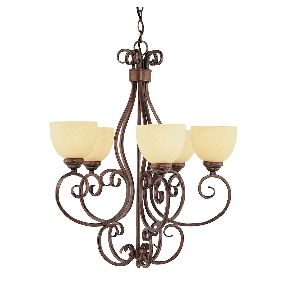 Bel Air Lighting Swirled Champagne Glass 5 Light Chandelier