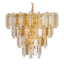 Bel Air Lighting Polished Brass with Clear Acrylic 4 Tier Chandelier
