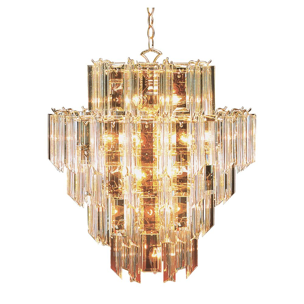 Polished Brass with Clear Acrylic 7 Tier Chandelier