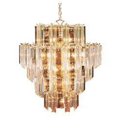 Bel Air Lighting Polished Brass with Clear Acrylic 7 Tier Chandelier