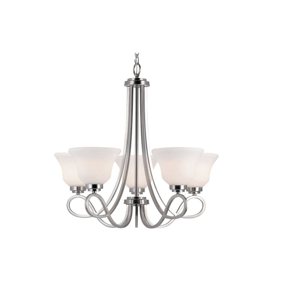Bel Air Lighting Nickel Looped and Marbled Glass 5 Light Chandelier