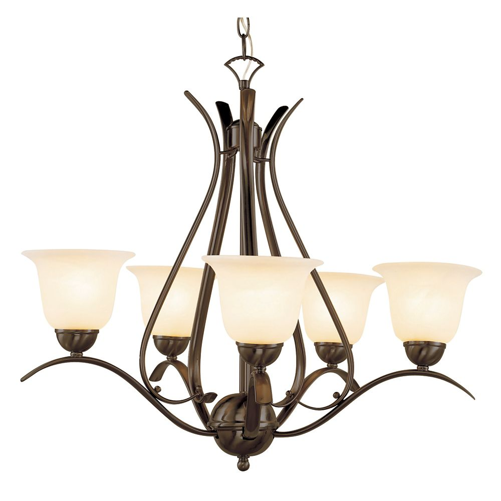 Bel Air Lighting Bronze Nested 5 Light Chandelier