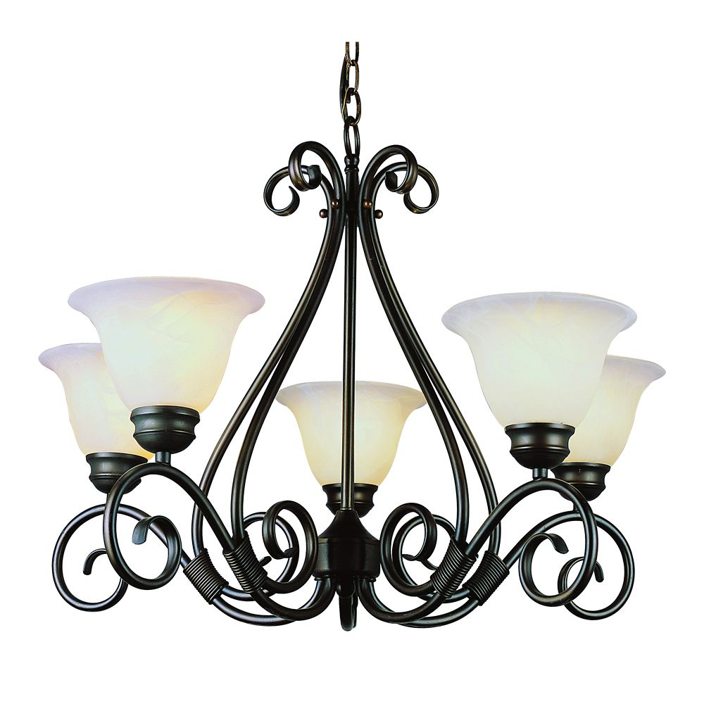 Bronze with Marbled Glass 5 Light Chandelier