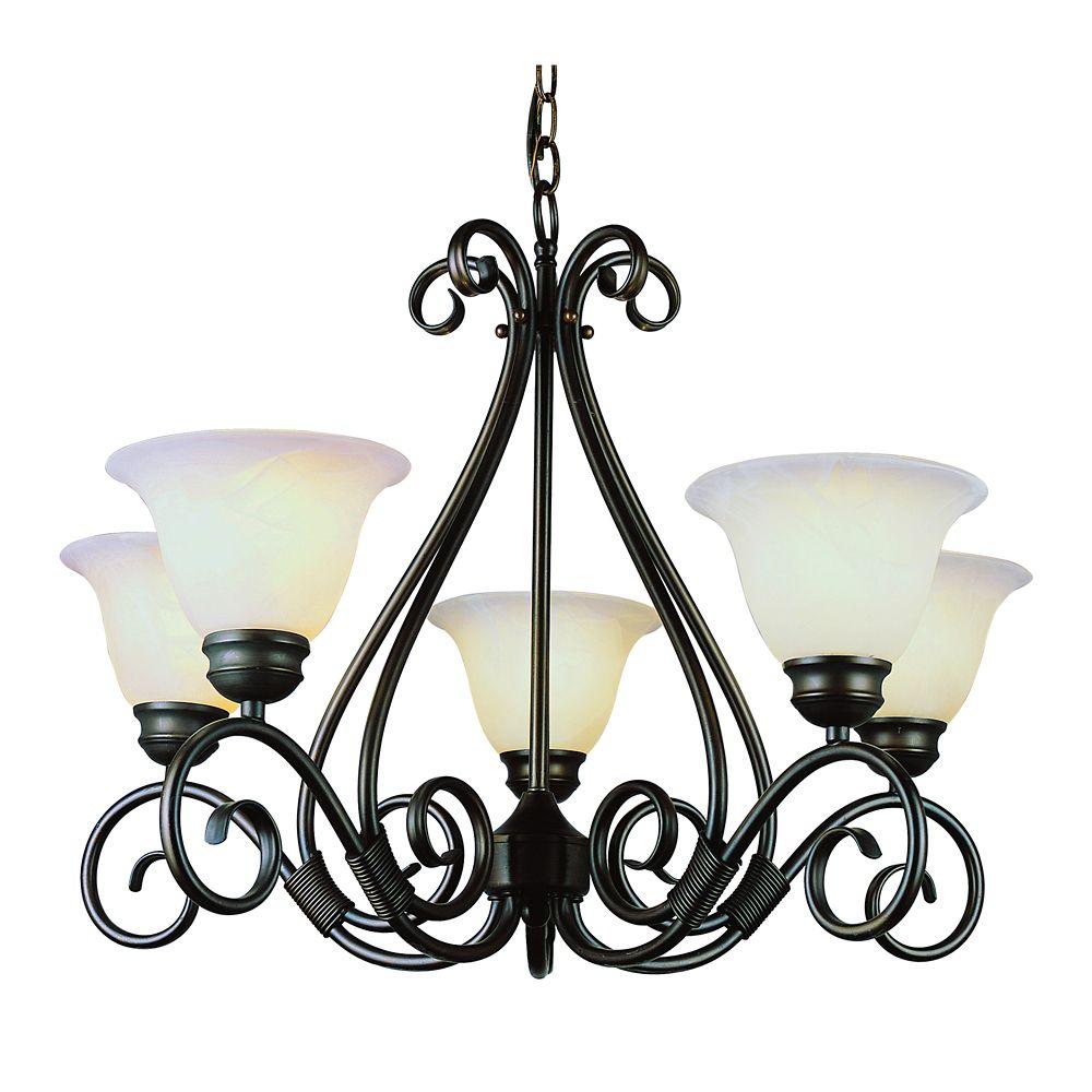 Bel Air Lighting Bronze with Marbled Glass 5 Light Chandelier