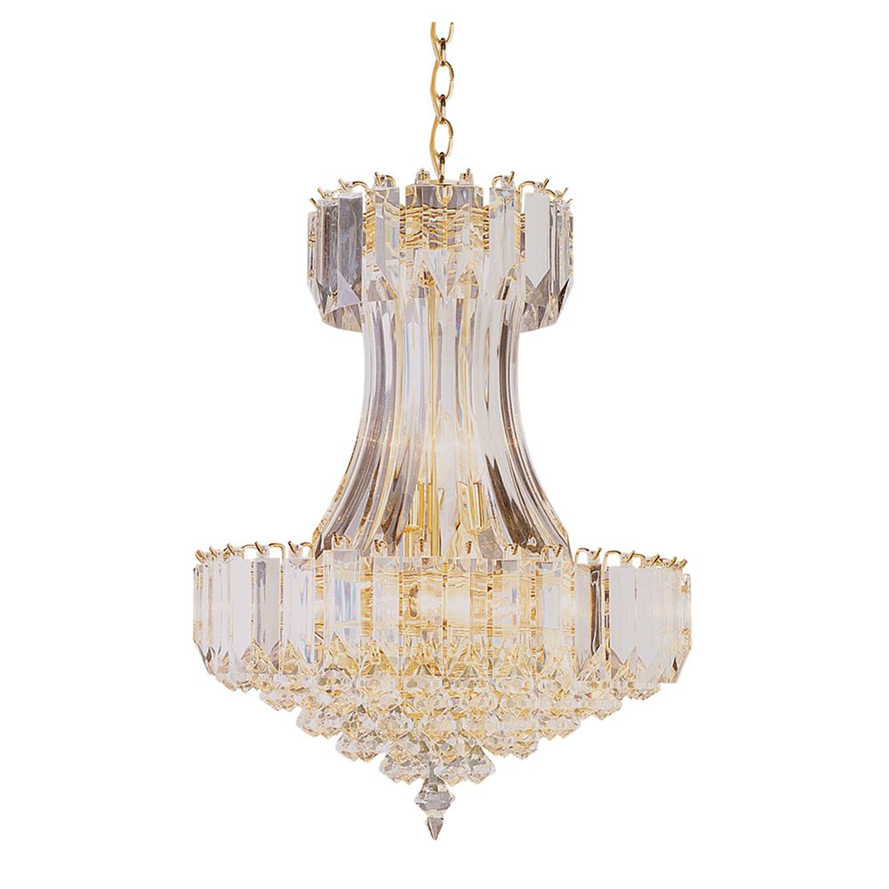 Bel Air Lighting Polished Brass and Clear Acrylic Drop Chandelier