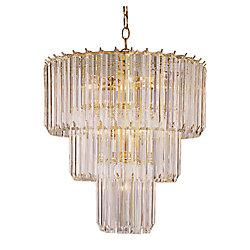 Bel Air Lighting Lustre acrylique transparent à 3 rangs, laiton poli