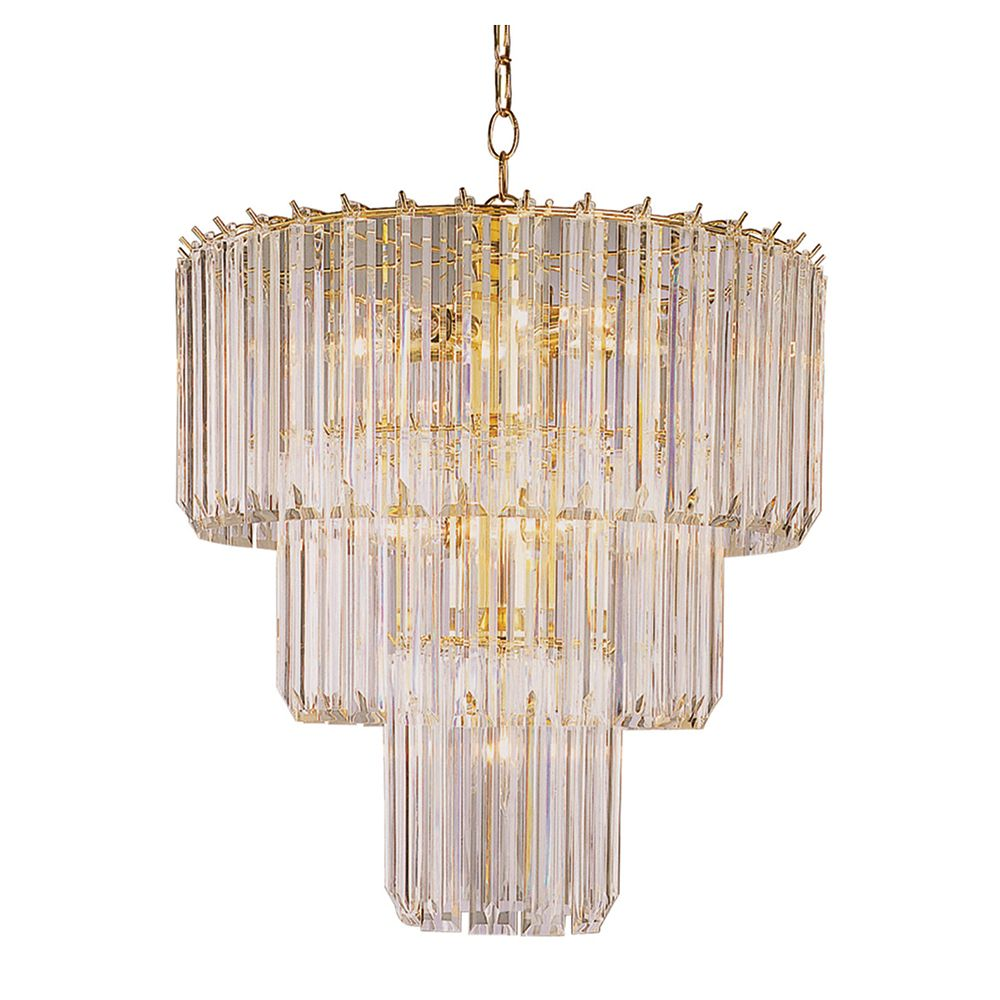 Polished Brass and Clear Acrylic 3 Tier Chandelier