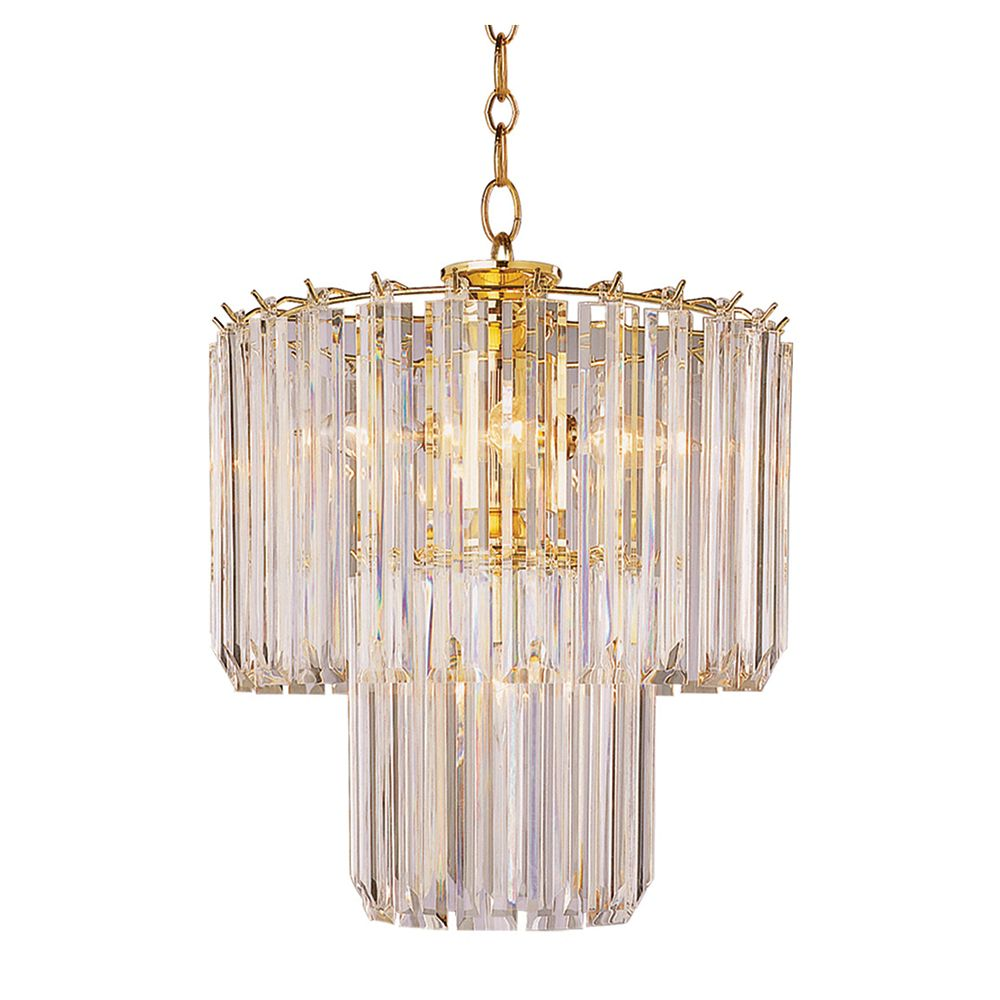 Polished Brass and Clear Acrylic 2 Tier Chandelier