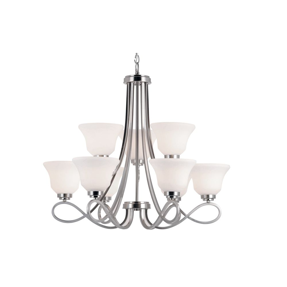 Nickel Looped and Marbled Glass 2 Tier Chandelier