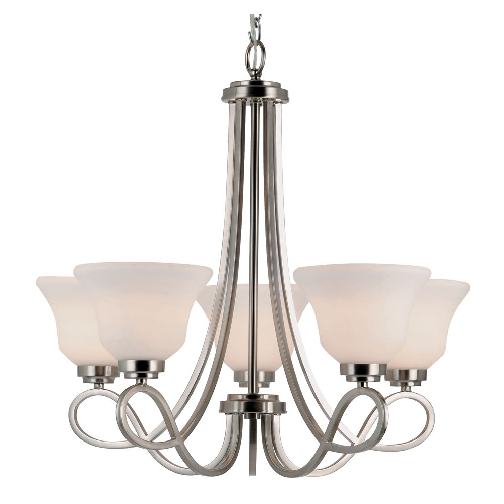 Bel Air Lighting Nickel Looped and White Frosted 5 Light Chandelier