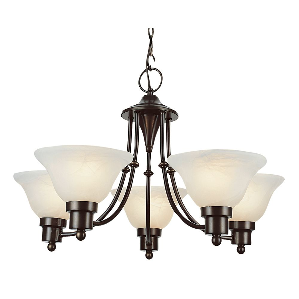 Blackened Bronze Contemporary 5 Light Chandelier