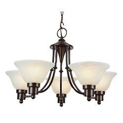 Bel Air Lighting Lustre à 5ampoules avec diffuseur, 60W, bronze noirci