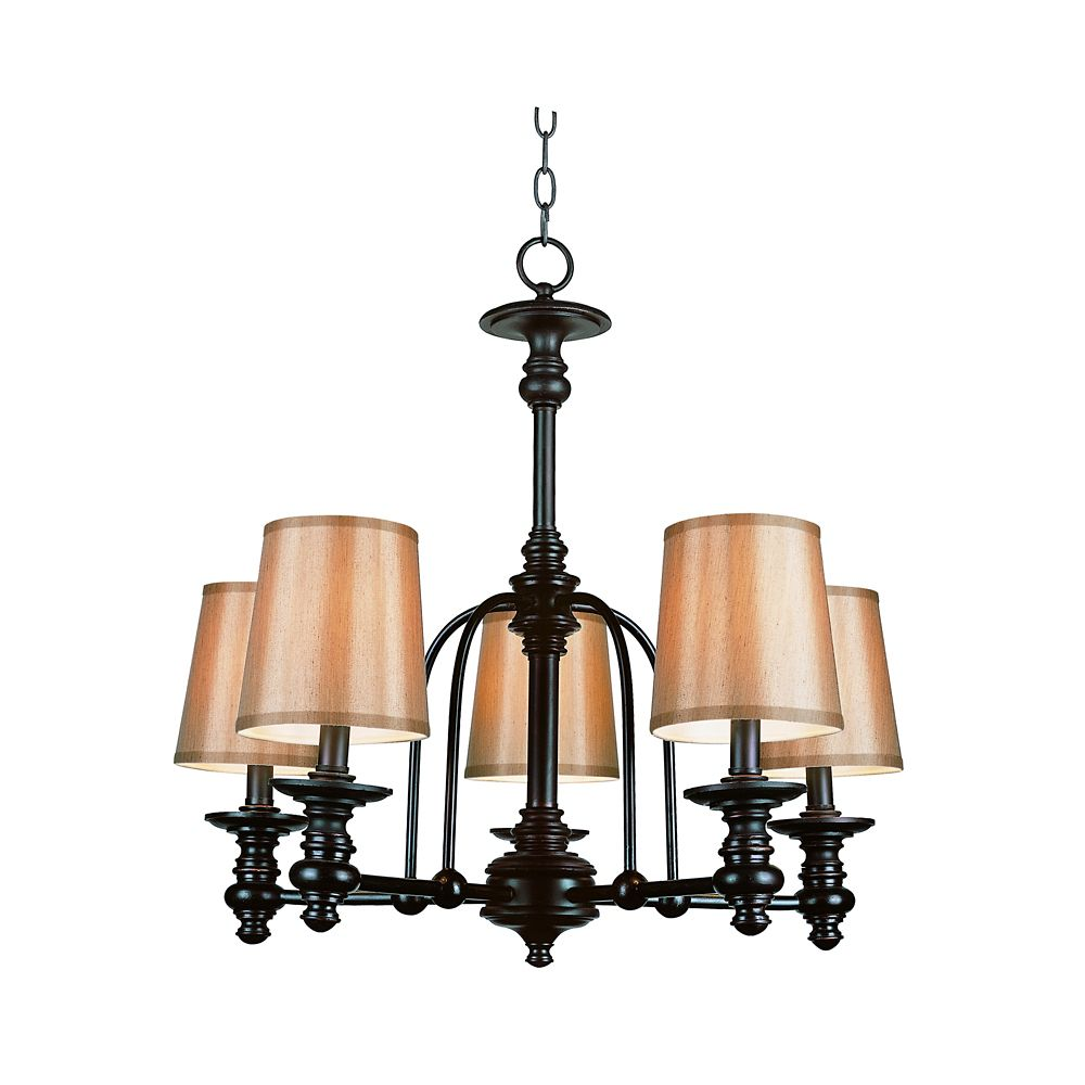 Oiled Bronze Linen Shade Hanging Chandelier