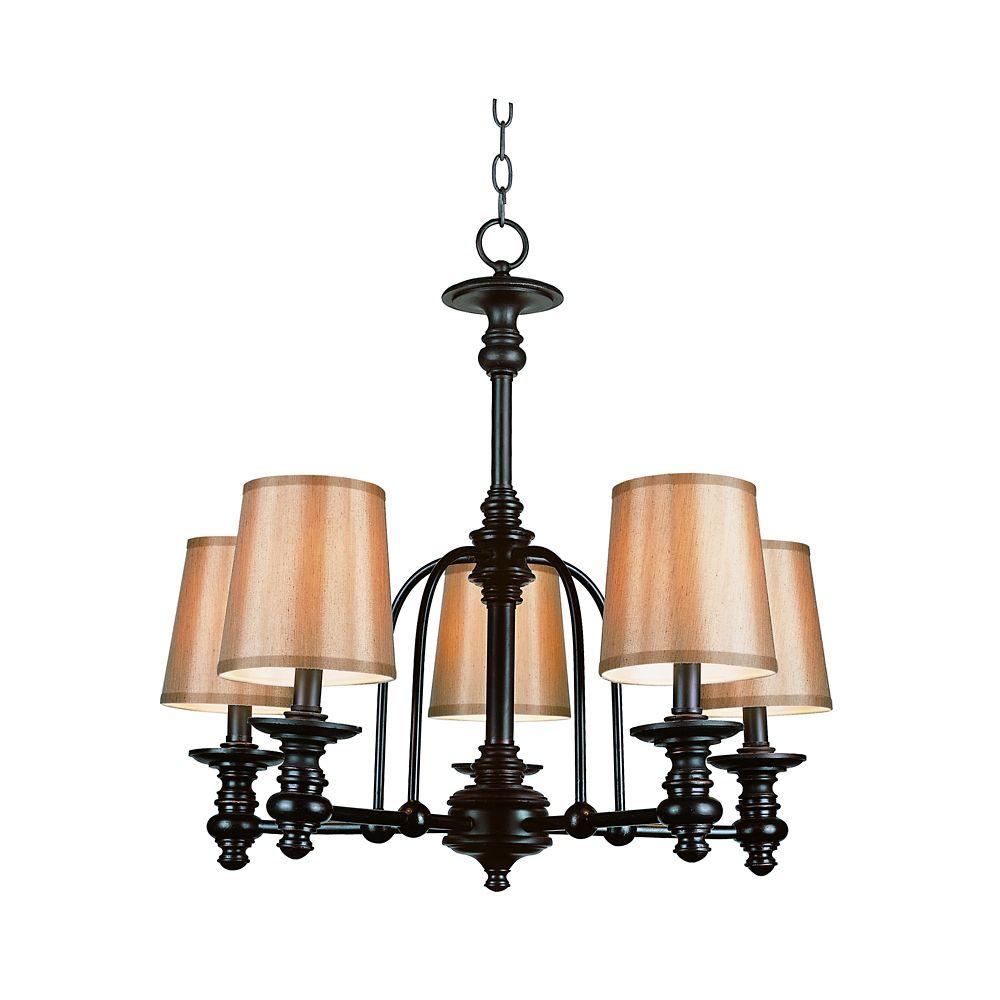 Bel Air Lighting Oiled Bronze Linen Shade Hanging Chandelier