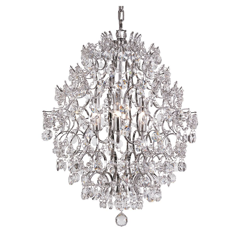 Bel Air Lighting Chrome Stems and Crystal Petals 21 inch Chandelier