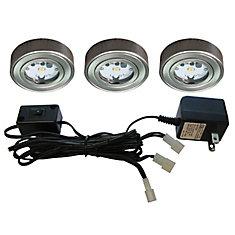 3 Enviro LED Metal Puck Kit, Satin Nickel