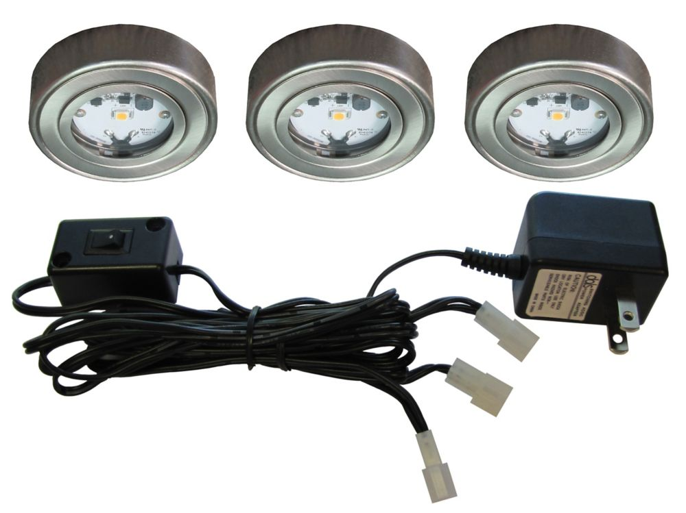 3 Enviro LED Metal Puck Kit, Satin Nickel