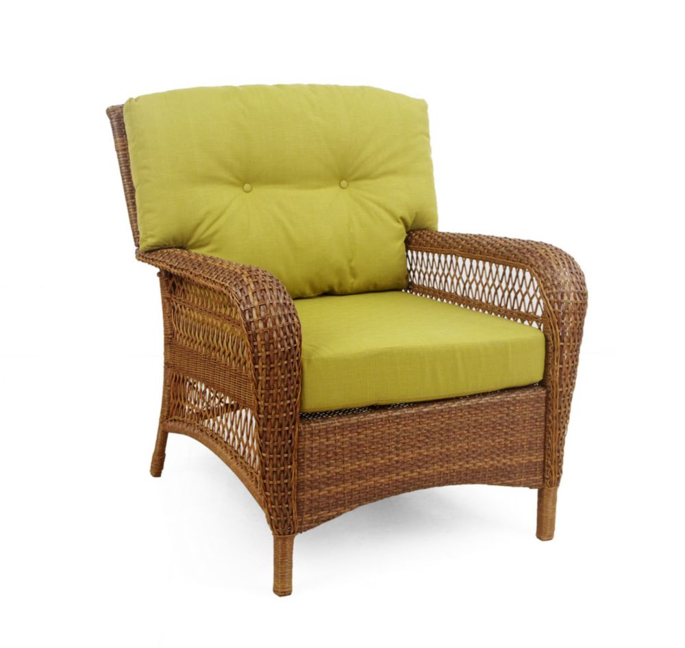 Charlottetown Outdoor Chair in Brown with Green Cushions