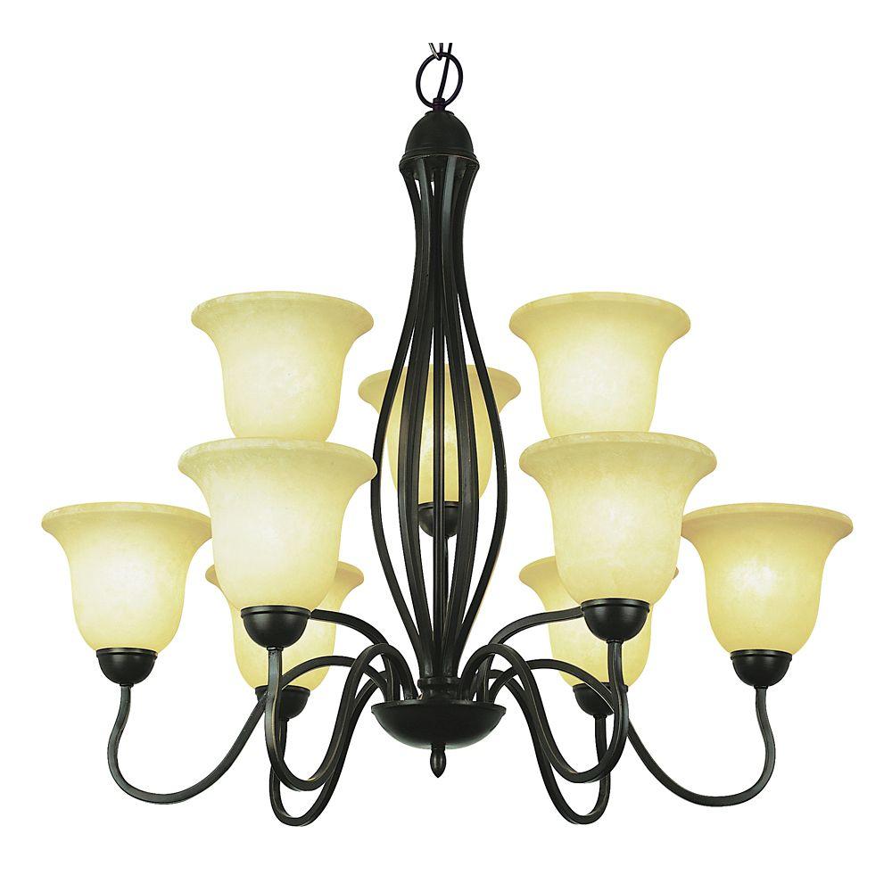 Bel Air Lighting Lustre à 2 rangs à crochet, bronze