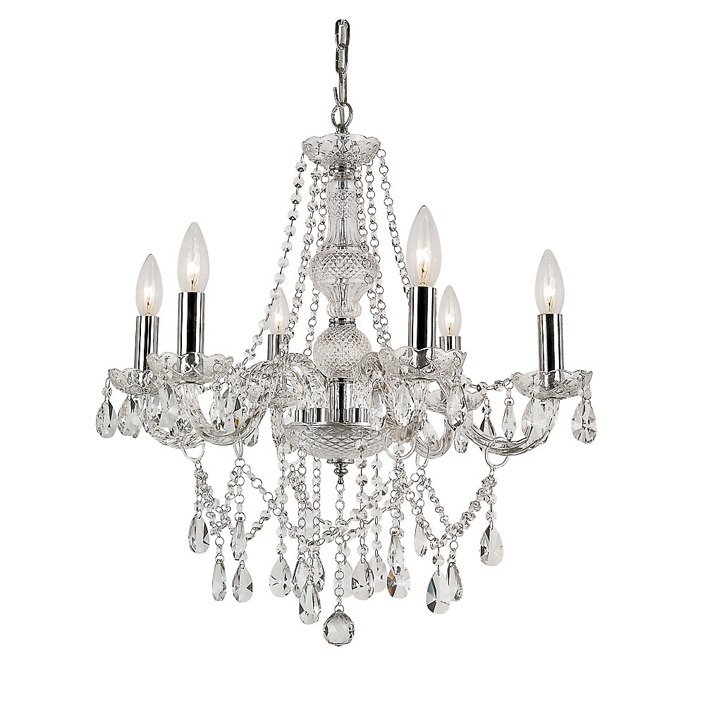 6-Light Braided Crystal Chandelier
