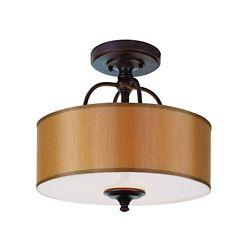 Bel Air Lighting Oiled Bronze Linen Shade Ceiling Light
