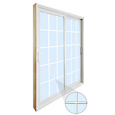 59.75 Inch X 79.75 Inch Clear LowE Argon Prefinished White Double Sliding  Vinyl Patio Door With