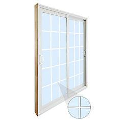 59.75 inch x 79.75 inch Clear LowE Argon Prefinished White Double Sliding Vinyl Patio Door