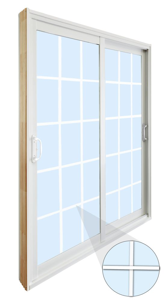 60-inch x 80-inch 15-Lite Double Sliding Patio Door with with Internal White Flat Grill