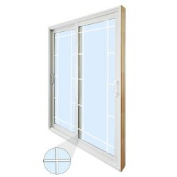 STANLEY Doors 59.75 inch x 79.75 inch Clear LowE Argon Prefinished White Double Sliding Vinyl Patio Door - ENERGY STAR®