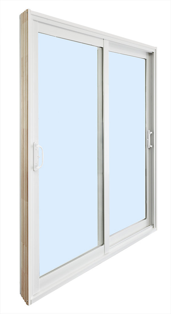 71.75 inch x 79.75 inch Clear LowE Argon Prefinished White Double Sliding Vinyl Patio Door - ENERGY STAR®