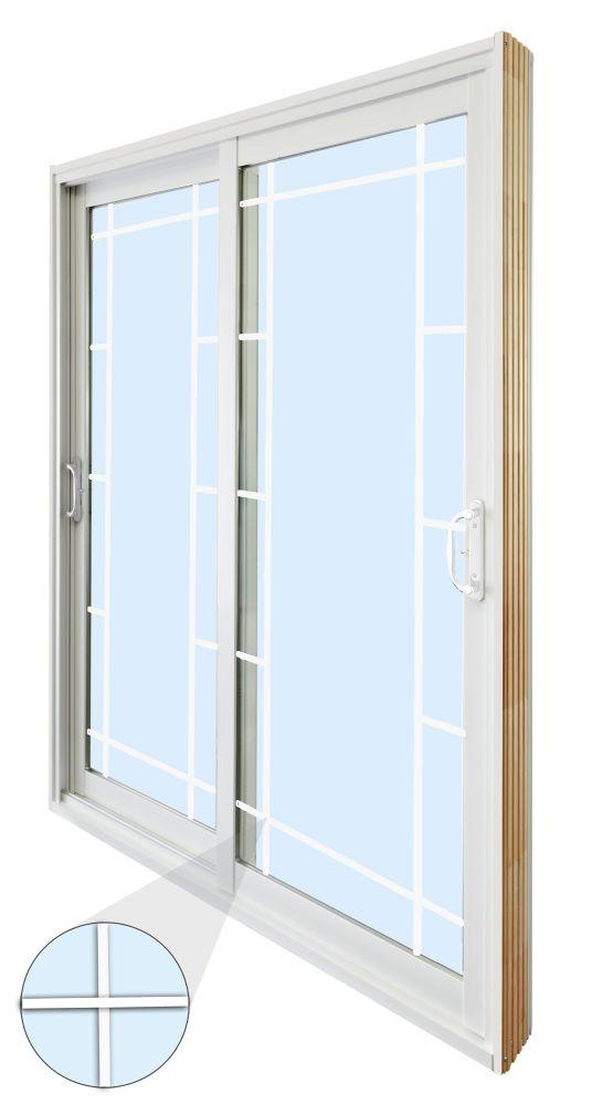 60-inch x 80-inch Double Sliding Patio Door Prairie Style Internal Grill