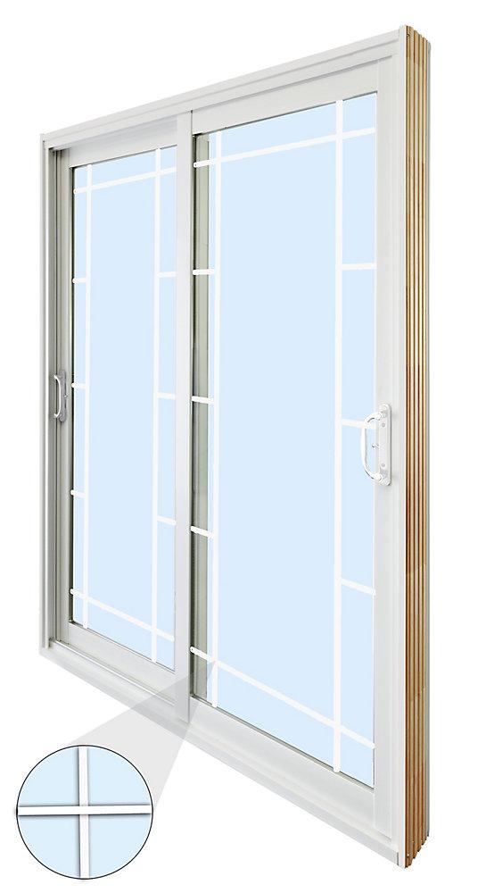 71.75 inch x 79.75 inch Clear LowE Argon Prefinished White Double Sliding Vinyl Patio Door - ENERGY STAR®