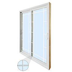 71.75 inch x 79.75 inch Clear LowE Argon Prefinished White Double Sliding Vinyl Patio Door