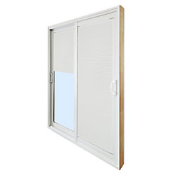 Stanley Doors 59.75 inch x 79.75 inch Clear LowE Prefinished White Double Sliding Vinyl Patio Door with 7-1/4 inch Jamb and Internal Mini Blinds - ENERGY STAR®