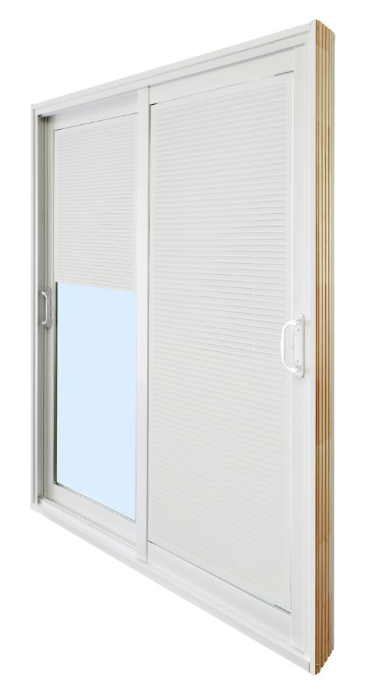 59.75 Inch X 79.75 Inch Clear LowE Prefinished White Double Sliding Vinyl Patio  Door With 7