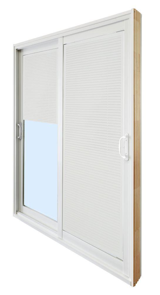 Double porte panoramique coulissante � Store à mini-lamelles intégré -  (72 po x 81 po)