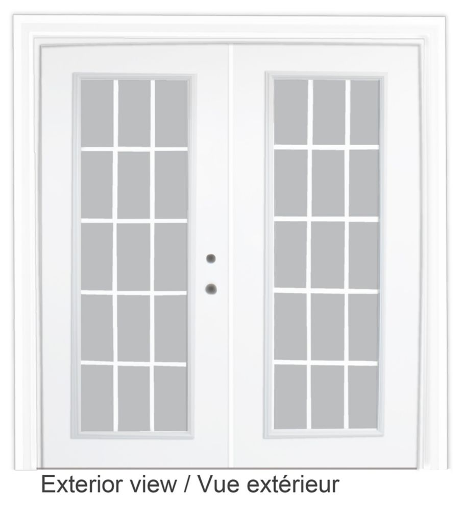 Steel Garden Door-15 Lite Internal Grill-5 Ft. x 82.375 In. Pre-Finished White Lowe Argon-Left Ha...
