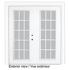 61 inch x 82.375 inch Clear LowE Argon Prefinished White Left-Hand Steel Garden Door with 15-Lite Internal Grill