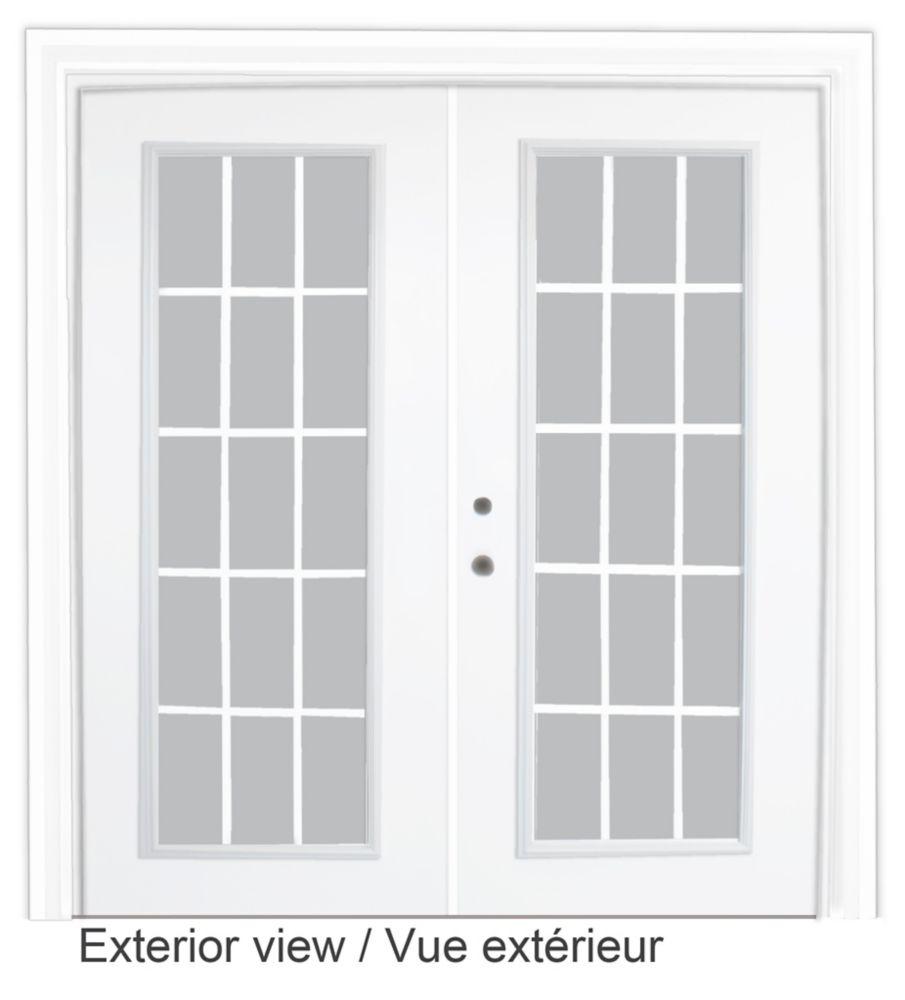 Porte-fenêtre en acier - 15 lite Carrelage blanc, plat, intégré - (5 pi sur 82.375 po) � préfinie...