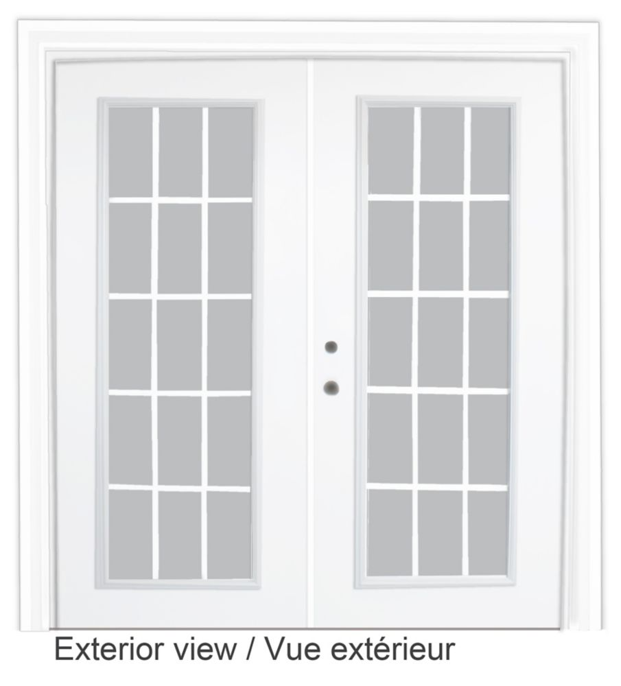 Steel Garden Door-15 Lite Internal Grill-6 Ft. x 82.375 In. Pre-Finished White Lowe Argon-Right Hand