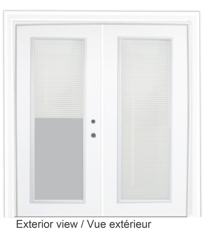 Steel Garden Door-Internal Mini Blinds-5 Ft. x 82.375 In. Pre-Finished White - Left Hand
