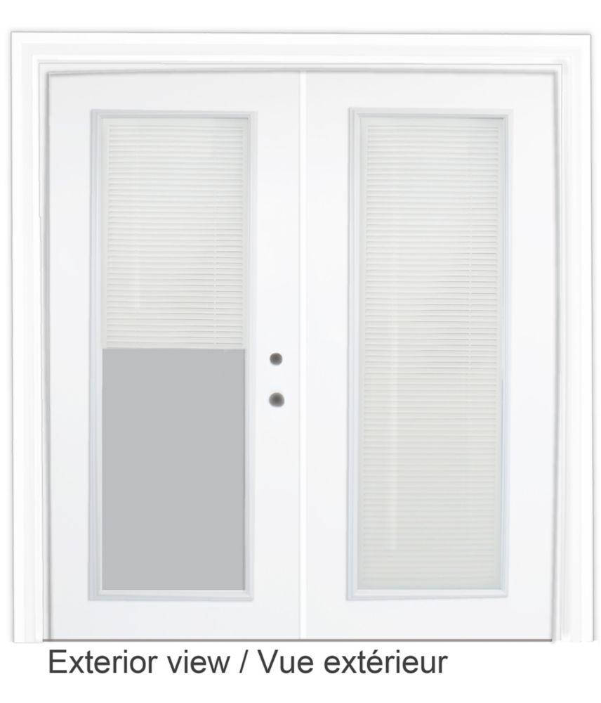 Porte-fenêtre en acier - Store à mini-lamelles intégré - (6 pi sur 82.375 po) � préfinie blanc,po...