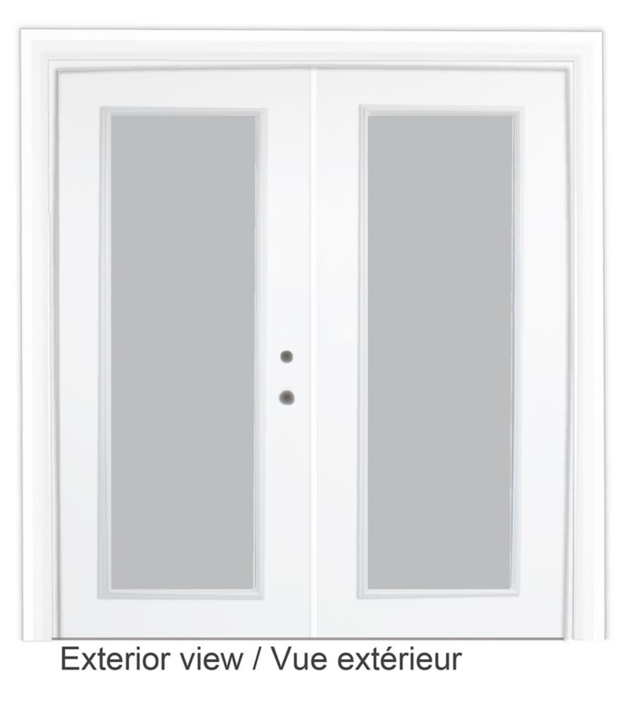 Steel Garden Door-5 Ft. x 82.375 In. Pre-Finished White LowE Argon-Left Hand