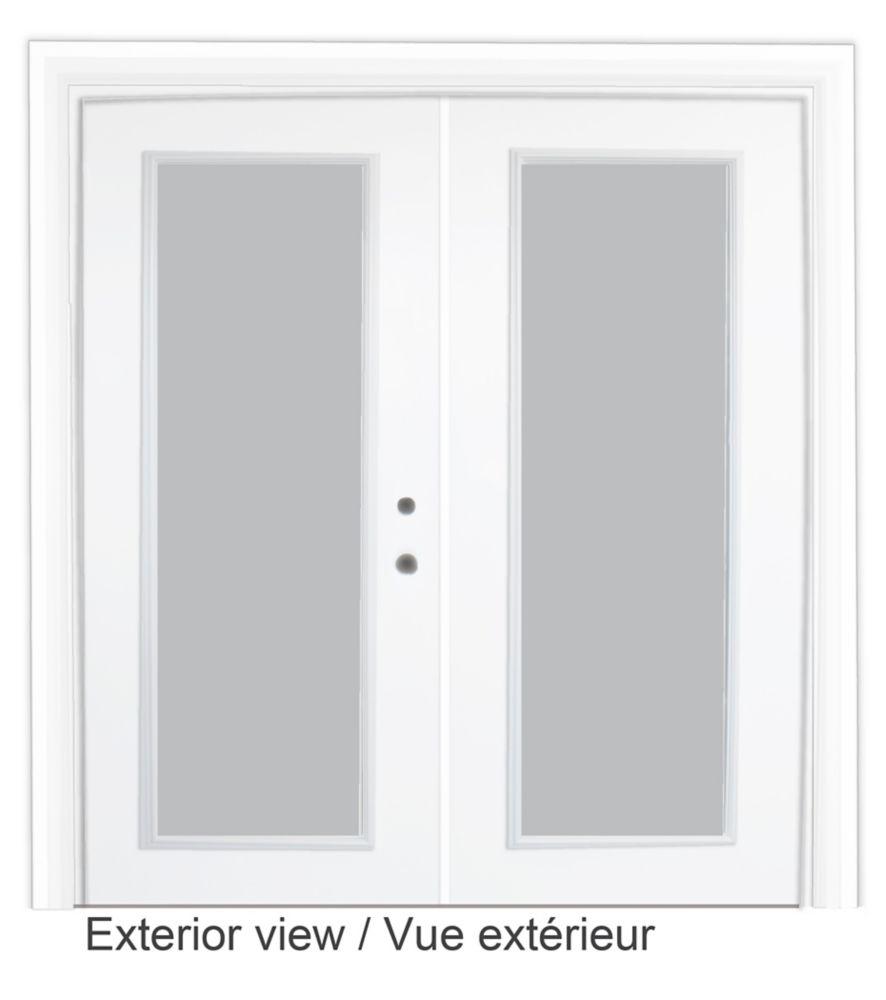 61 inch x 82.375 inch Clear LowE Argon Prefinished White Left-Hand Steel Garden Door with 7-1/4 i...