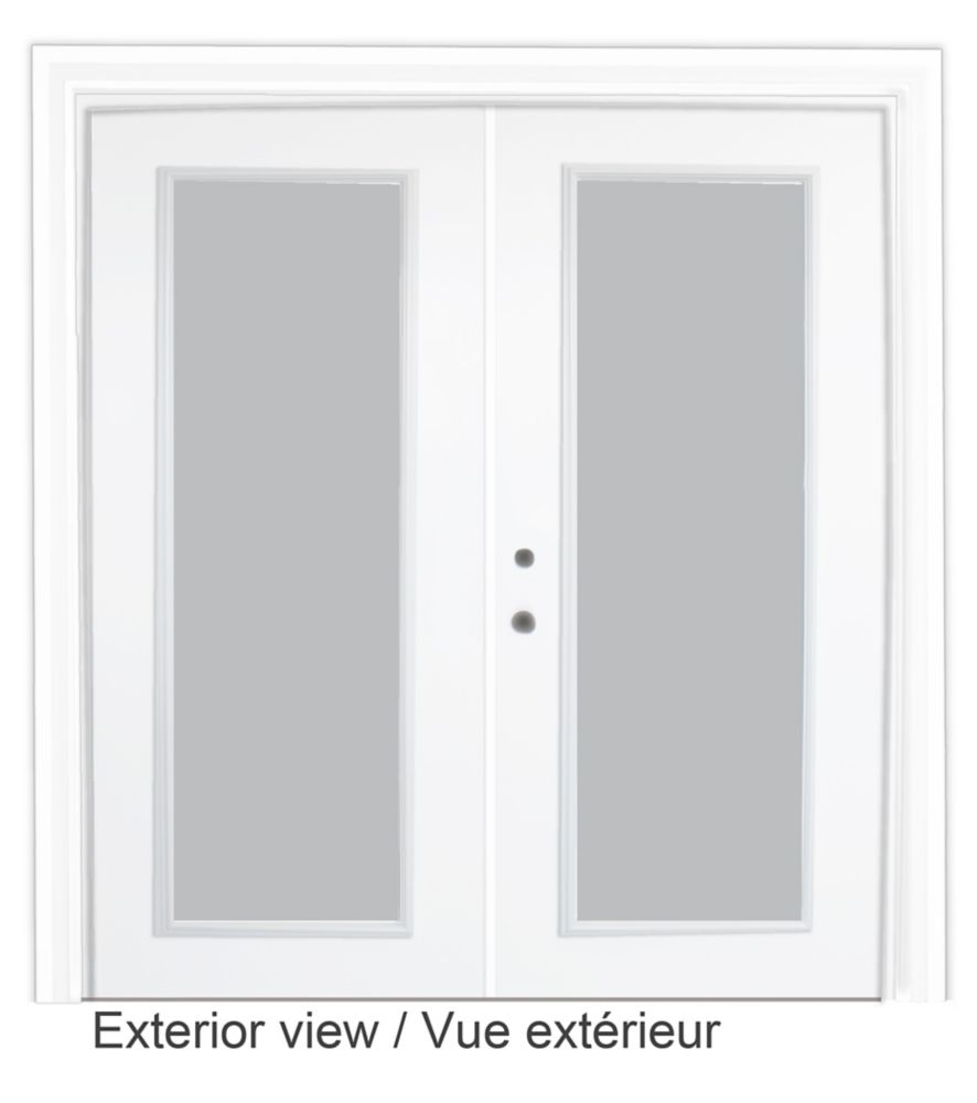 72-inch x 82-inch White Low-E Argon Righthand Steel Garden Door